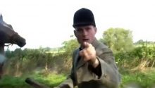Shocking moment fox hunter 'attacks a demonstrator while wielding a whip'