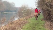 Trespass: Badsworth and Bramham Moor Hunt huntsman Richard Mould and master Nigel Dickson ignore warning signs.