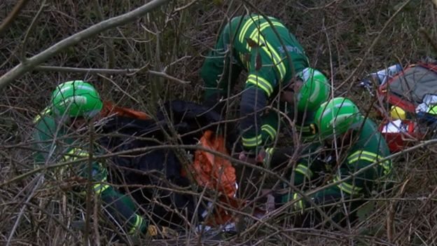 Paramedics were called to treat the injured men