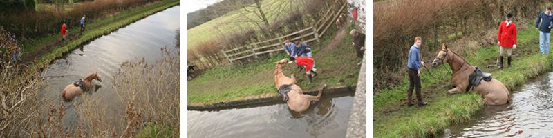 Cheshire Forest Hunt on canal towpath
