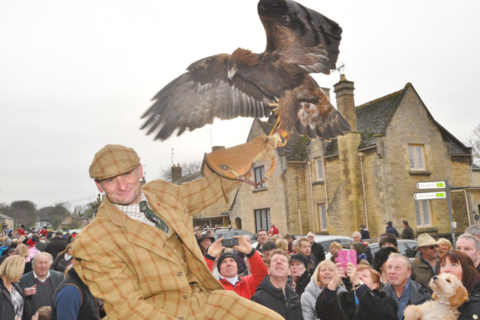 Fitzwilliam Hunt: New Year's Day hunt at Wansford. John Mease with his eagle.