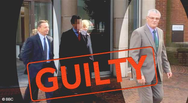 Paul Larby, their lawyer censored out, Jane Wright and Pete White leaving Mansfield Magistrates.