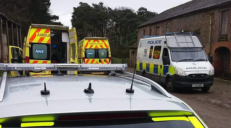 Middleton Hunt attack: Police and ambulances arrive to treat the injured hunt saboteurs