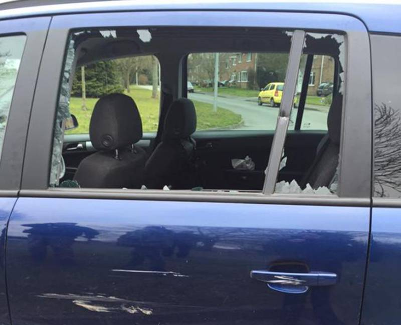 Some of the damage to the car belonging to the North East Hunt Saboteurs