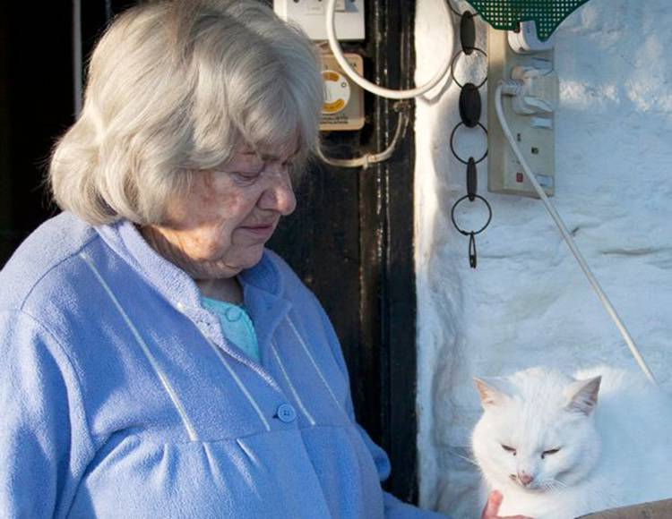 Beloved: Janet Clarke with her cat, Fluffy, who was ripped apart by hunting hounds