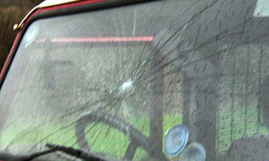 Windscreen smashed by hunt supporter